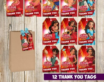 12 Elena of Avalor Thank you tags instant download, Printable Elena of Avalor Thank you cards, Elena of Avalor gift tags