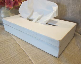 Lovely, Tissue Box Cover, Solid Wood, Counter or Dresser Display, Kleenex Box, White, Cottage Chic, French Country, Country Farm,Upcycled