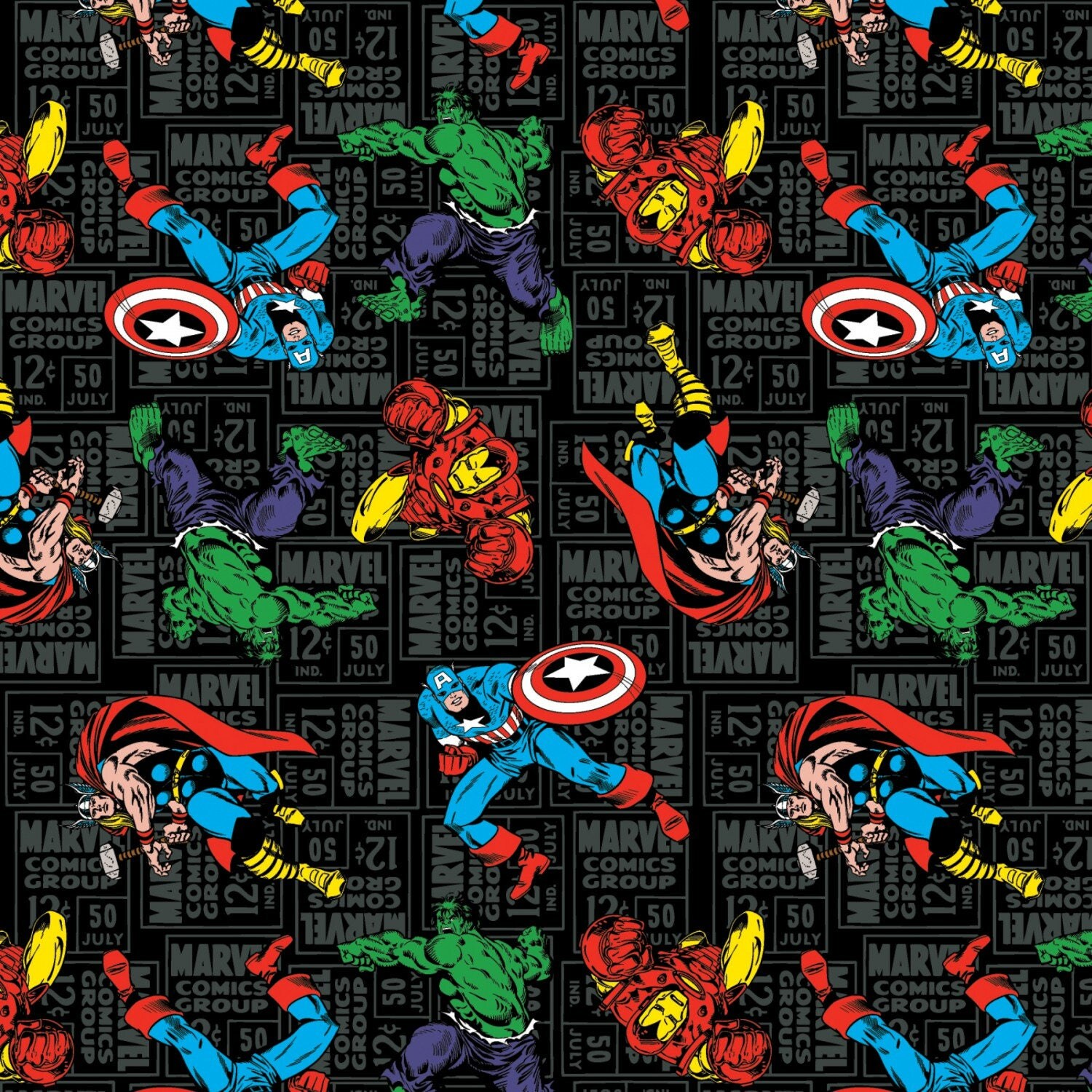 Marvel Character Toss On Black Premium 100% Cotton Fabric