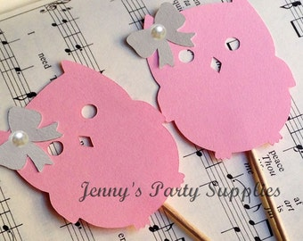 Set of 12 Girl Owl Cupcake Toppers, Owl Baby Shower Toppers, Pink and Gray Owl Toppers, Woodland Animal Toppers