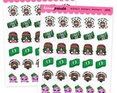 Z035 | MONEY, MONEY, Money Stickers Keenachi Perfect for Erin Condren Life Planner, Filofax, Plum Paper, scrapbooking
