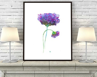 Purple wall art abstract flower print abstract painting watercolor flower art - 52