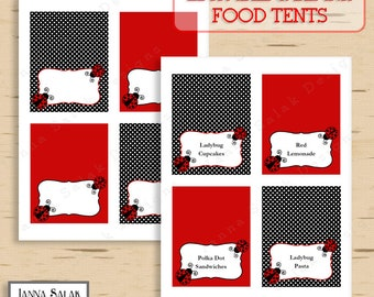 Ladybug Food Tent Labels EDITABLE and BLANK Red Black Polka Dot DIY Printable Instant Download LB01