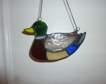 Stained glass Wild duck suncatcher,Duck suncatcher.