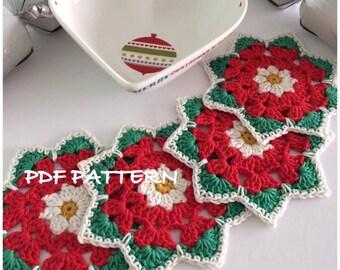 Crochet Coaster Pattern, Christmas Rose Coaster Pattern- Instant Download PDF crochet pattern PDF tutorial  Pattern,Mandala