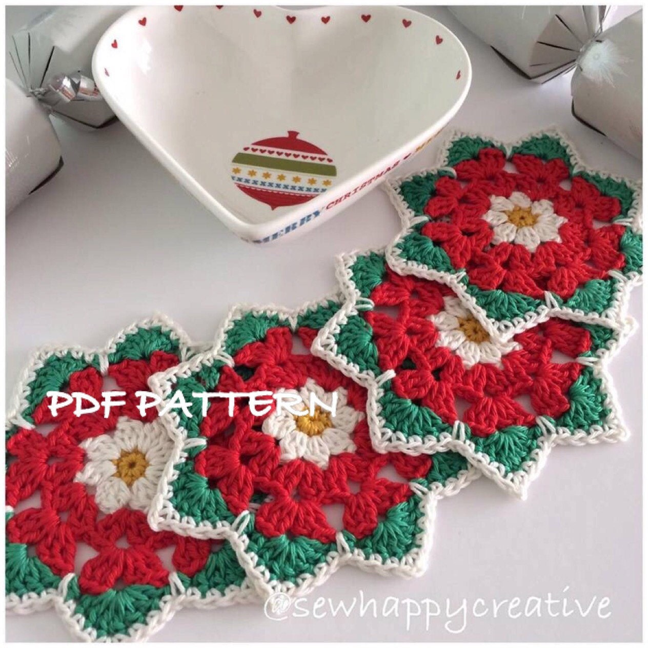 Crochet coaster pattern christmas rose coaster pattern instant this is a digital file bankloansurffo Choice Image