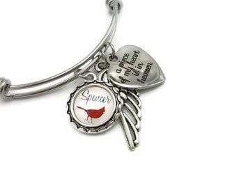 Cardinal Heaven, Cardinal Memorial Bracelet, Cardinal Appears, Angel Near, Memorial Jewelry, Sympathy Gift, A Piece of My Heart is in Heaven
