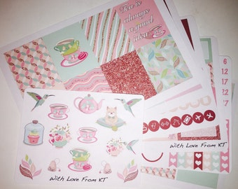 Tea Party Full Week Planner Sticker Kit
