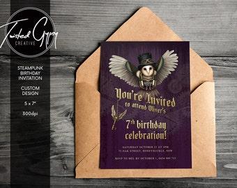 Steampunk Birthday Invitation - Custom Design