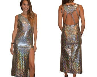 Cosmic Holographic Strappy Slit Maxi Dress
