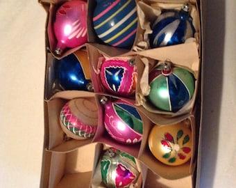 50s 60s Polish glass Christmas ornaments