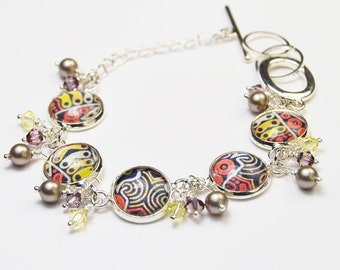 Modern Tribal Bracelet with Pearls and Crystals