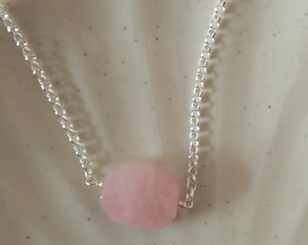 Genuine Rose quartz necklace,sisters necklace sterling necklace