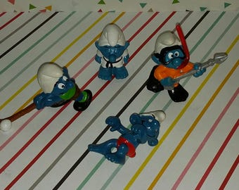 Vintage Lot of 4 1980s Peyo Sports Smurf Figures