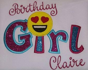 Custom Birthday girl Emoji birthday shirt, dark pink and turquoise, heart eyes emoji