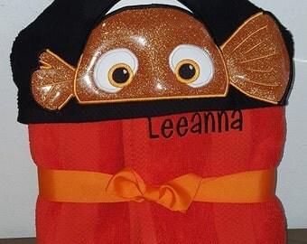 Fish Hooded Towel,orange fish Hooded Towel