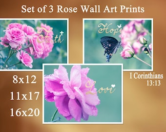 "Religious wall art Rose Print Set of 3 photograph pink and teal print Holy Bible verse I Corinthians 13:13 faith, hope & love ""Agape Love"""