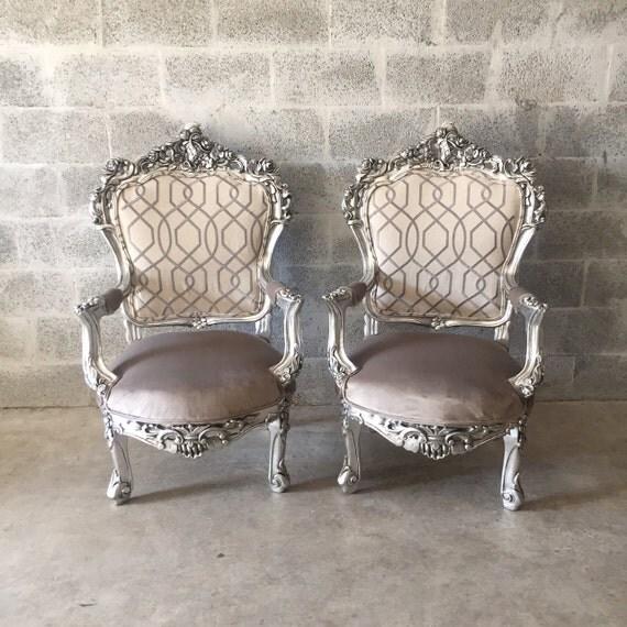 Antique chair silver leaf italian baroque furniture designer