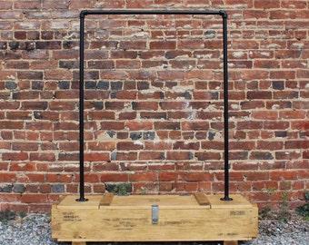 """Industrial Ammo Crate Clothing Rack  51"""", Industrial Garment Rack, clothing storage, rustic furniture, vintage"""
