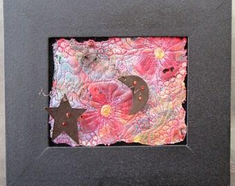 """Framed Fiber Art, Moon and Star Art, Miniature Art Quilt, Home Decor, Gift for Friend, Shelf or Wall Art, 7.5"""" x 6.5"""""""