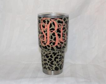 customized leopard print monogrammed tumber