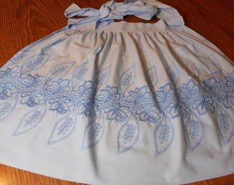 Vintage 1960's Heavily Embroidered Half Apron in Blue
