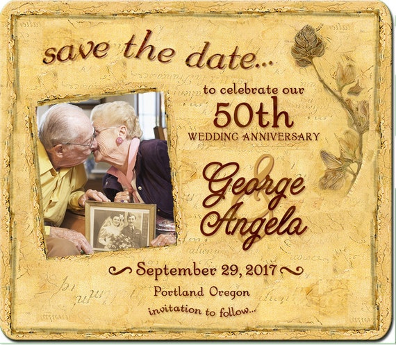 Golden Save The Date For Wedding Invitation Wedding: 50th Magnet Save The Dates 50th Golden Anniversary Save The