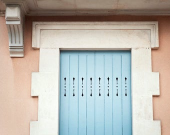 Door photography, Paris door photograph, light blue wall art, coral home decor, french fine art, travel print, door photo, Paris print
