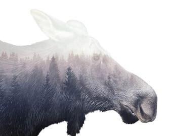 "Moose & Wildlife Double Exposure Modern Digital Art Print – 8"" x 12"", 12"" X 18"", 16"" x 20"", 20"" x 30"" or 24"" x 36"""