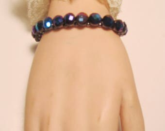 Kirks Folly Multi Colored Crystal Blueish Purple Stretch Bracelet    (#577)