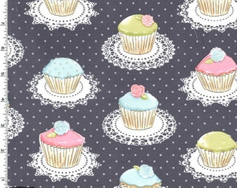 Quaint Cupcakes Fabric - Gray - Sold by the 1/2 Yard