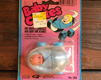 Vintage Baby Chutes Toy/ Egg-Shaped Baby Carriage with Baby and Blanket/ 1983 Gordy Toys/ New in Package!