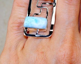 Amazing Larimar & 925 Sterling Silver Ring size 7