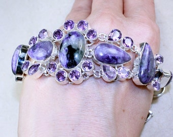 Amazing Charoite and Amethyst set in Solid 925 Sterling Silver Bracelet