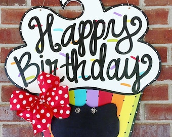 Birthday cupcake door hanger, Cupcake Door Hanger, Chalkboard, Teacher's Door Hanger, Teacher's gift