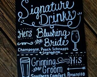 Wedding drink menu   Etsy