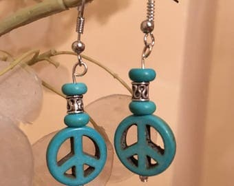 Peace Sign Drop Earrings Turquoise Howlite