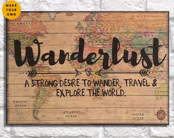 Travel gift world Map poster print Wood wall art Mens gift for Women Gift for Men Wanderlust quote Boyfriend gift for her Panel effect sign