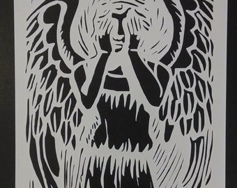 Dr. Who Weeping Angel Custom Stencil FAST FREE SHIPPING