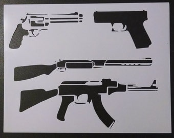 Gun Pistol Rifle ak-47 Shotgun Custom Stencil FAST FREE SHIPPING