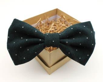 Corduroy Bow Tie - Mens Pre-Tied Bow Tie - Womens Bow Tie - Dark Green Polka Dot Bow Tie - Formal Wedding Bow Tie
