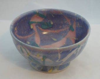 Umbrella bowl in pink and blue designed by Janice Tchalenko for Dartmouth pottery.