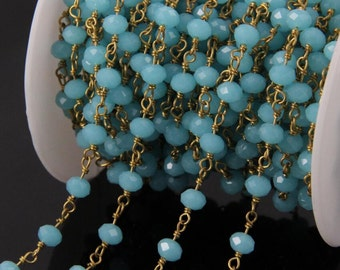 4x6mm Faceted Rondelle Beads Rosary Chain Beads Bronze Gold Wire Chain Sky Blue Glass Beads Rosary Chain