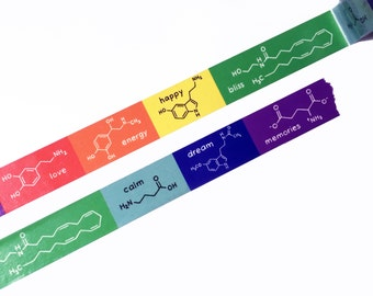Chemistry Nerd Washi Tape - All the Feels Happy Love Energy Dream Memories Bliss Calm - Science Washi tape Geek tape - Biochemistry, Biology