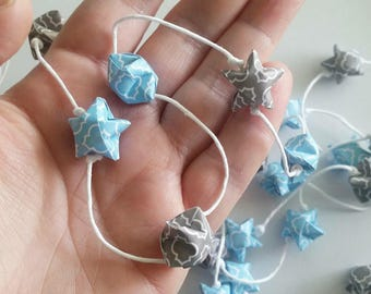 Blue and Gray Garland: Origami Star Garland - Handmade Baby Shower Garland - Paper Garland - Twinkle - Nursery Garland - Origami Garland