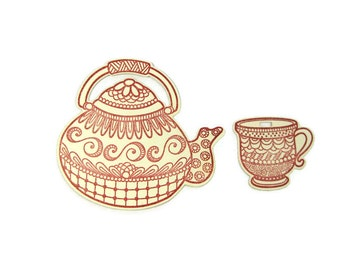 Stamped Paper Tea Pot and Tea Cup Die Cut Gift Tags Set of 10 (5 of each)