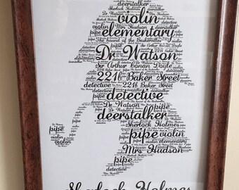 Sherlock Holmes word art print framed ready made gift idea Holmes Dr Watson Sir Arthur Conan Doyle