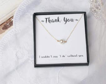 Pearl Necklace, Bridal Party Gift, Bridesmaids Gift, Wedding Jewelry, Single Pearl, I couldn't say I do without you, Bridesmaids Thank You