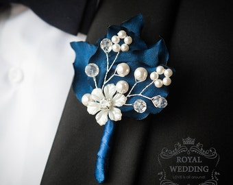 Wedding Boutonniere Buttonhole Navy Boutonniere Navy Blue Boutonniere Grooms Boutonniere Jewelry Boutonniere Petals Boutonniere Boutineer