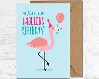Flamingo Card, Flamingo Birthday Card, Tropical Bird Card, Funny Birthday Card, Cute Birthday Card, Animal Birthday Card, Card Friend